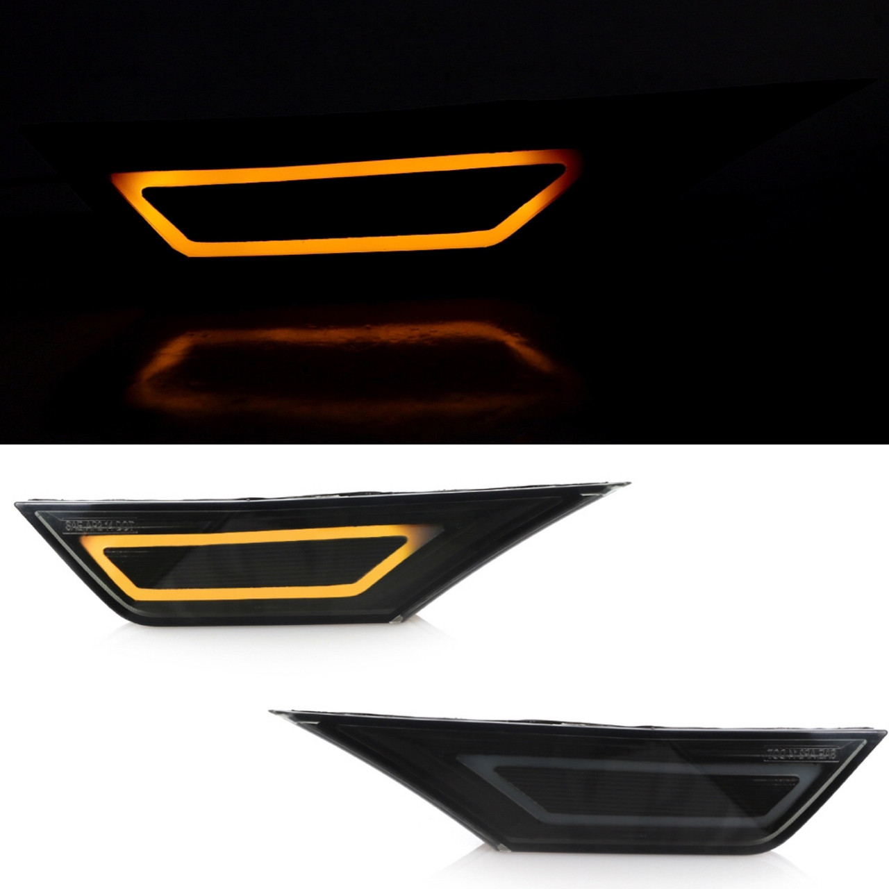 16-20 Honda Civic Smoked Front Side markers Built in LED AMBER DEPO