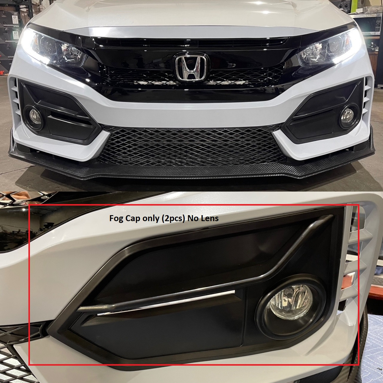 """16-2021 Honda Civic Type R Style Front Bumper """"Fog Caps only"""" for Better Fitment Bumper only"""