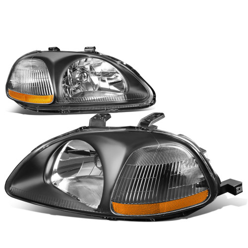 96-98 Civic Black Housing Amber Corner Headlights