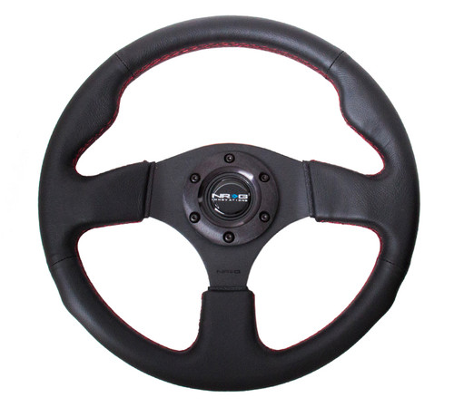NRG 320MM SPORT LEATHER STEERING WHEEL W/ RED STICH