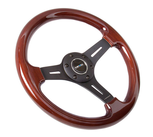 NRG  CLASSIC WOOD GRAIN 350MM 3 SPOKE BLACK CENTER DRK WOOD