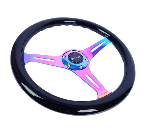 NRG Steering Wheel Black Classic Wood Grain 3 Spoke Neochrome Center