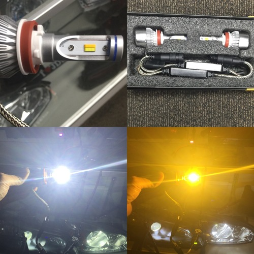 Dual Color LED Headlight Bulbs, Switchback White/Yellow(6000K/3000K), Philips Flip Chip 72W 8400LM