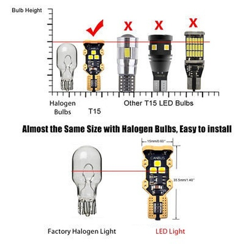 T15 LED Reverse Backup Light Bulb 921 912 6000K Pure White 1 Year Warranty