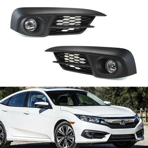 16-2018 Honda Civic 4DR Sedan Fog Lights (CLEAR)