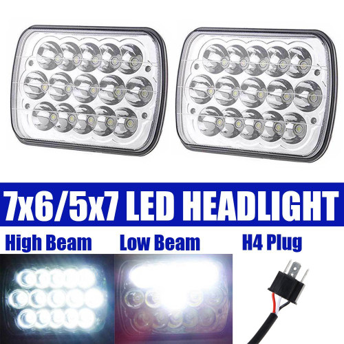 7X6 5X7 Inch Rectangular Headlight LED Sealed High/Low Beam 45 Watt for Freightliner/Kenworth/Peterbilt/International/Jeep/Chevy/Volvo/Dodge/Ford Universal Driving Headlamp - Pair