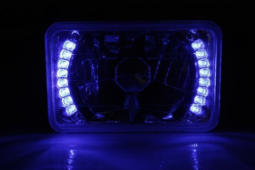 Set of 4x6 H4651/H4652/H4656/H4666 Blue LED Ring Chrome Crystal Square Headlights Conversion - Pair