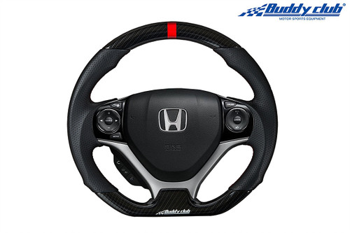 BUDDY CLUB STEERING WHEEL PERF. LEATHER / CARBON FIBER / RED STITCH 12-15 CIVIC