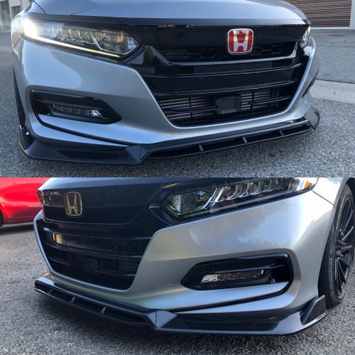 18-19 Accord Front Bumper Lip 3 pc (Carbon Fiber Color)
