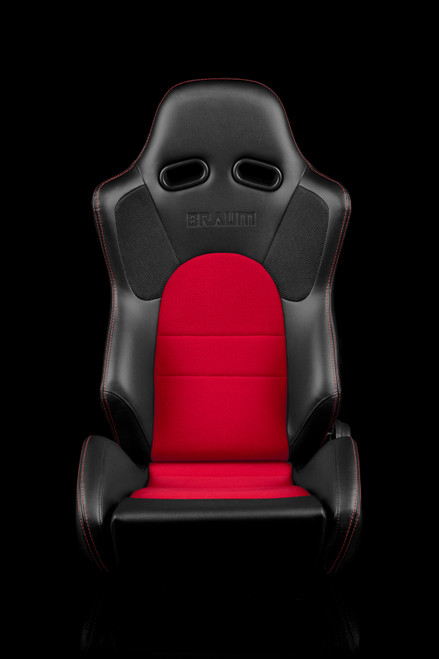 Braum ADVAN Series Black-Red Cloth Seats(Pair)