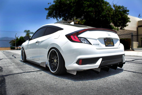 2016-2019 Honda Civic Coupe AeroFlow Dynamics Side Skirt Extension V4
