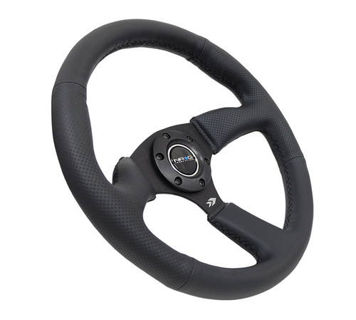 "NRG 2.5"" Deep Dish Steering Wheel Black Leather Matte Black Center"