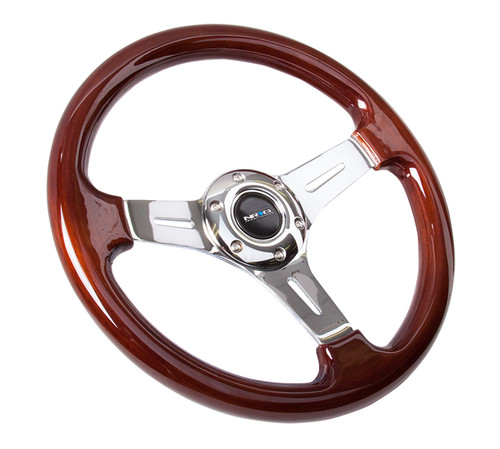 NRG CLASSIC WOOD GRAIN 350MM 3 SPOKE CHROME CENTER DRK WOOD