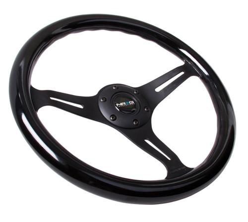NRG Classic Steering Wheel matte black Finish 3 Spoke Black wood