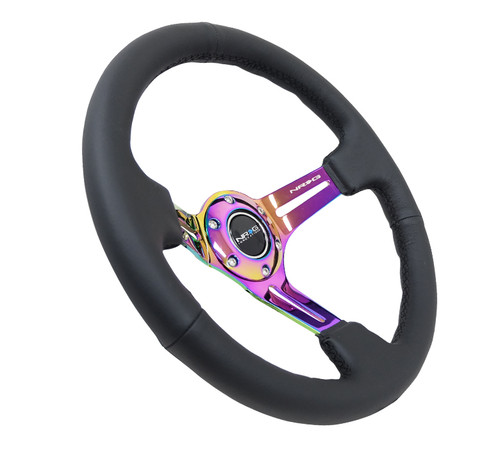 "NRG Steering Wheel 350mm Black Leather Neochrome Spoke 3"" Deep"