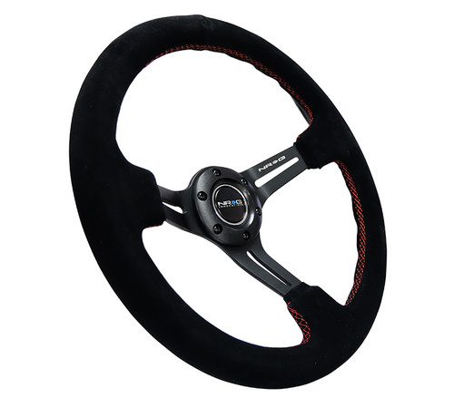 "NRG 350MM 3"" DEEP DISH RED STITCH BLACK SUEDE GRIP STEERING WHEEL"