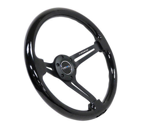 "NRG Steering Wheel Black Wood Grain Black Spokes 350mm 3"" Deep Dish"