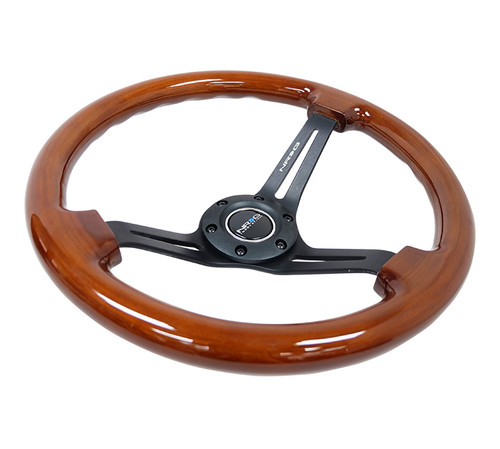 "NRG Steering Wheel Brown Wood Grain Black Spokes 350mm 3"" Deep Dish"