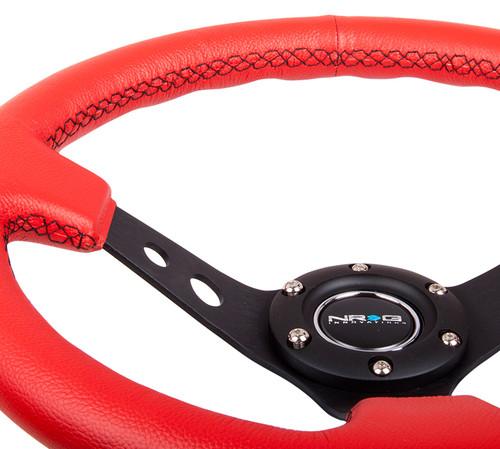 NRG 350mm Steering Wheel Deep Dish Red Leather Black Stitch