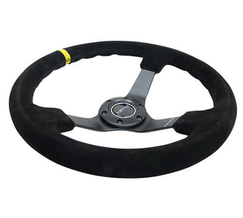 "NRG 350MM 3""DEEP DISH SUEDE GRIP YELLOW CENTER MARK STEERING WHEEL"