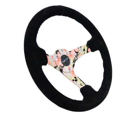 "NRG Steering Wheel 350mm Black Suded Hydro Dipped Digital Floral 3"" Deep Dish"