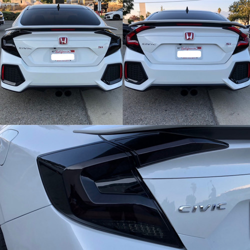 2016-2020 Honda Civic 4DR Sedan Version 2 LED Tail Lights w/ Sequential Turn Signal (Glossy Black Housing/Smoke Lens)