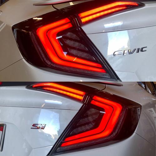 2016-2020 Honda Civic 4DR Sedan Version 1 LED Tail Lights w/ Sequential Turn Signal (Glossy Black Housing/Smoke Lens)