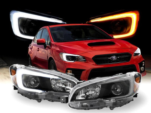 "2015-2020 Subaru WRX USR Edition SWITCHBACK 500 Lumen ""C"" WHITE/AMBER LED Black Housing Projector Headlight For with Factory Halogen Models Made by DEPO"