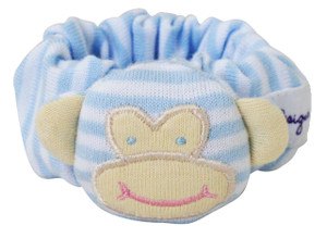 Alimrose monkey wrist rattle - pale blue