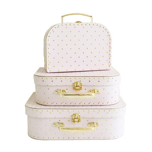 Alimrose 3 piece case set - pink & gold spot