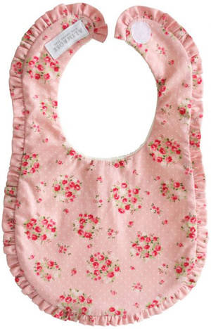 Alimrose - Ruffle Edge Bib - Pink Floral Wreath