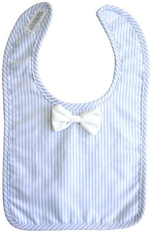 Alimrose - Bow Tie Bib - Blue Stripe