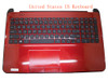 Laptop PalmRest&keyboard For HP 15-D000 747142-001 1A32FUQ00600G Red C Shell With Black Keyboard United States US