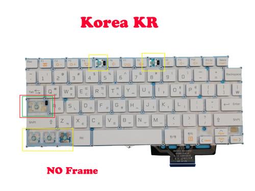 (Less keycaps) Laptop Keyboard For LG 14Z960 14Z960-A 14Z960-G 14Z960-L 14Z960-M 14Z960-P 14ZD960 14ZD960-G 14ZD960-L LG14Z96 Korea KR White Without Frame