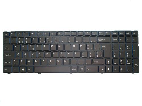 Laptop Keyboard For MEDION AKOYA E7415 MD60392 MD99151 MD60013 MD60181 MD60123 MD99154 MD99153 MD60087 MD60088 MD60367 MD60267 MD60179 MD99487 MD99902 MD99294 Black With Frame Swiss German SG Blue edge