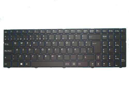 Laptop Keyboard For MEDION AKOYA E7415 MD60392 MD99151 MD60013 MD60181 MD60123 MD99154 MD99153 MD60087 MD60088 MD60367 MD60267 MD60179 MD99487 MD99902 MD99294 Black With Frame Spanish SP Blue edge