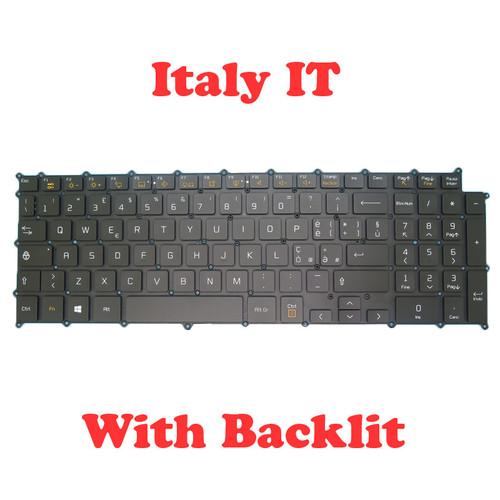 Laptop Backlit Keyboard For LG gram 17 SG-A9760-2IA SN3890BU AEW74109816 Black Italy IT NO Frame