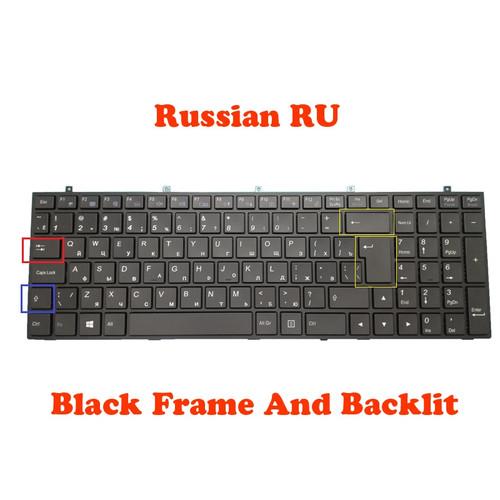 Laptop Big Carriage Return Keyboard For Gigabyte P16G P17F R5 V2 V3 V5 V7 P2542G P2742G-CF1 CF2 P27G P27K-CF1 CF2 Q2550M Q2552M Q2756N V2 Russian RU With Black Frame And Backlit