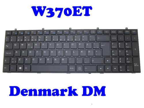 Laptop Keyboard For CLEVO W370ET MP-13H86DKJ430 6-80-W6700-030-1 Danish DM With Black Frame And Backlit