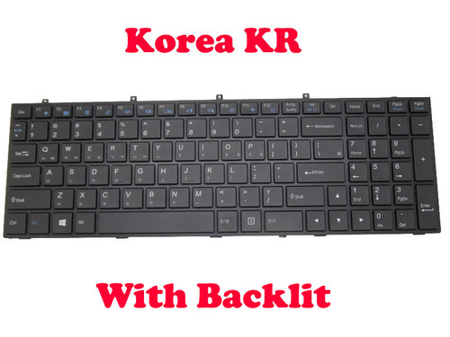 Laptop Keyboard For CLEVO W370ET MP-13H83K0J4301 6-80-W6700-110-1G Korea KR With Black Frame And Backlit