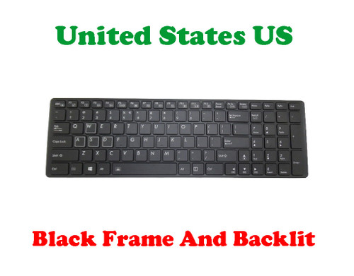 Laptop Keyboard For Gigabyte V142645FS1 UI/V142645HS1 UI 2Z703-UIX70-S10S U.S.English International UI With Black Frame And Backlit