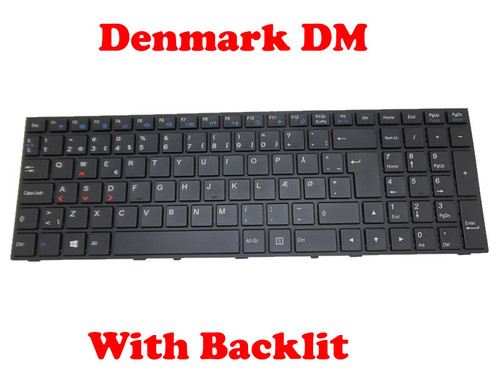Laptop Keyboard For CLEVO P650 MP-13H86DKJ430B 6-80-P6500-031-1 6-80-P6500-033-1 Danish DM With Black Frame And Backlit