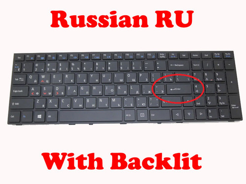 Laptop Keyboard For CLEVO P650 MP-13H86SUJ430B6 6-80-P6500-281-1D1 Latin Russian RU With Black Frame And Backlit