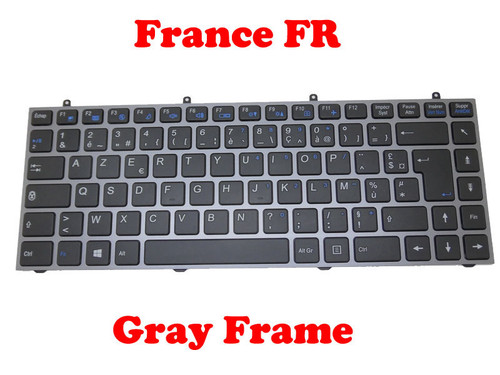 Laptop Keyboard For CLEVO W230 W230SD W230SS W230ST France FR Grey Frame/Without Frame
