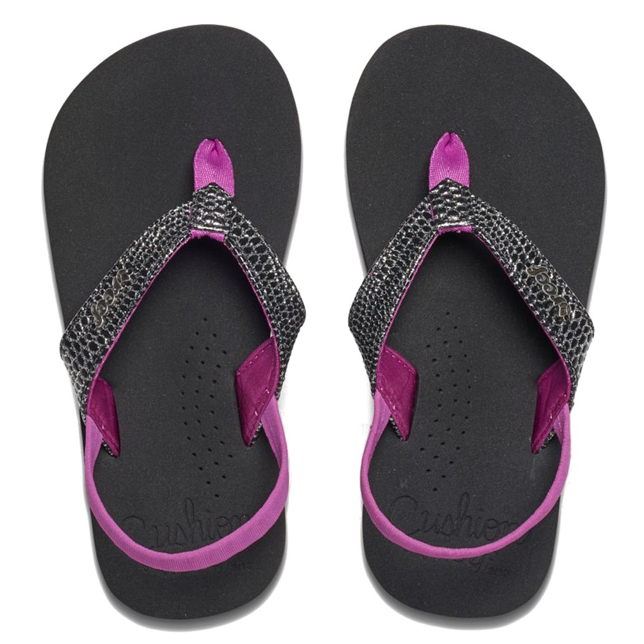 Reef Kid S Flip Flops Little Cushion Sassy Black Orchid