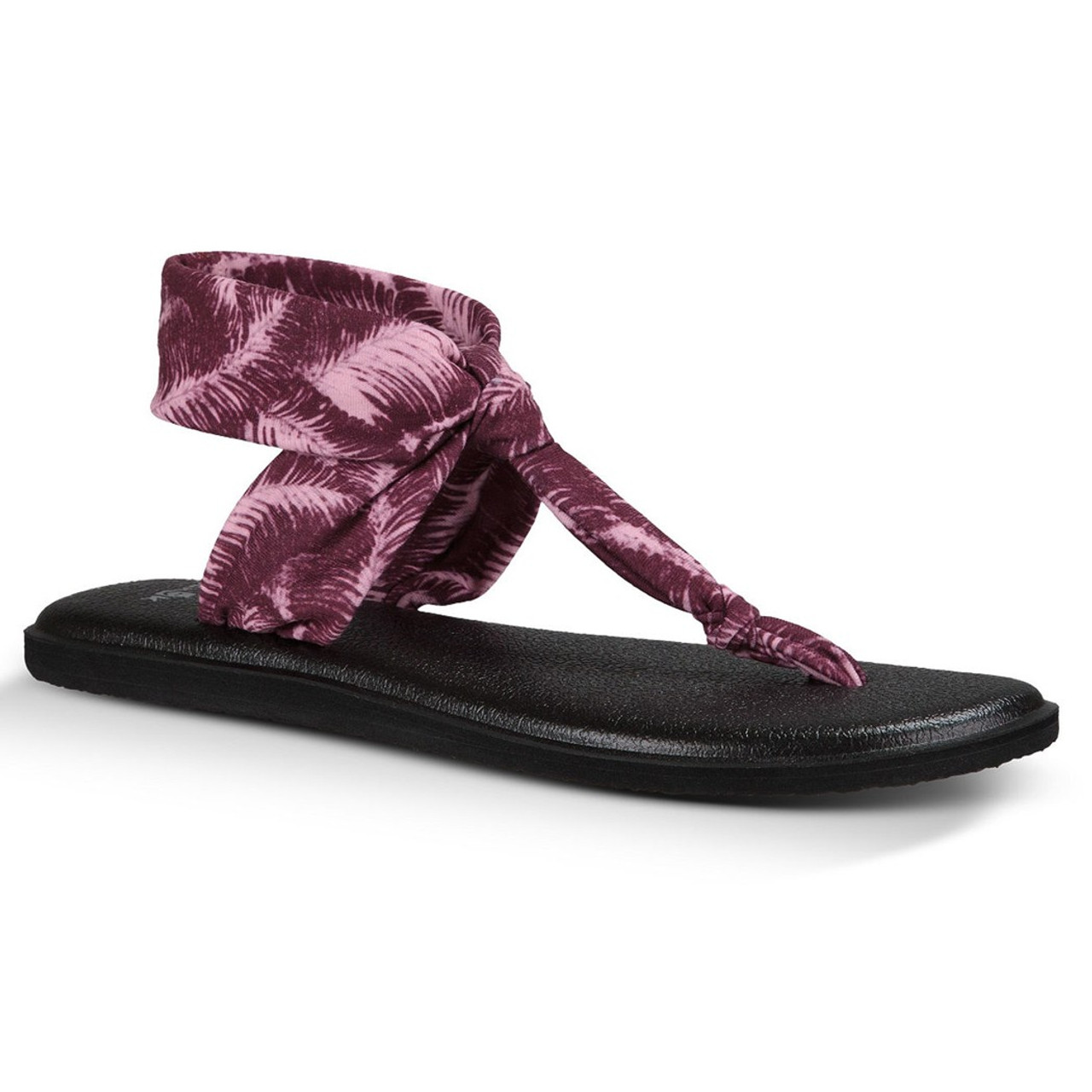 6a85a2a56 Sanuk Women s Flip Flop - Yoga Sling Ella Prints - Rumba Red Hazy Palms -  Surf and Dirt