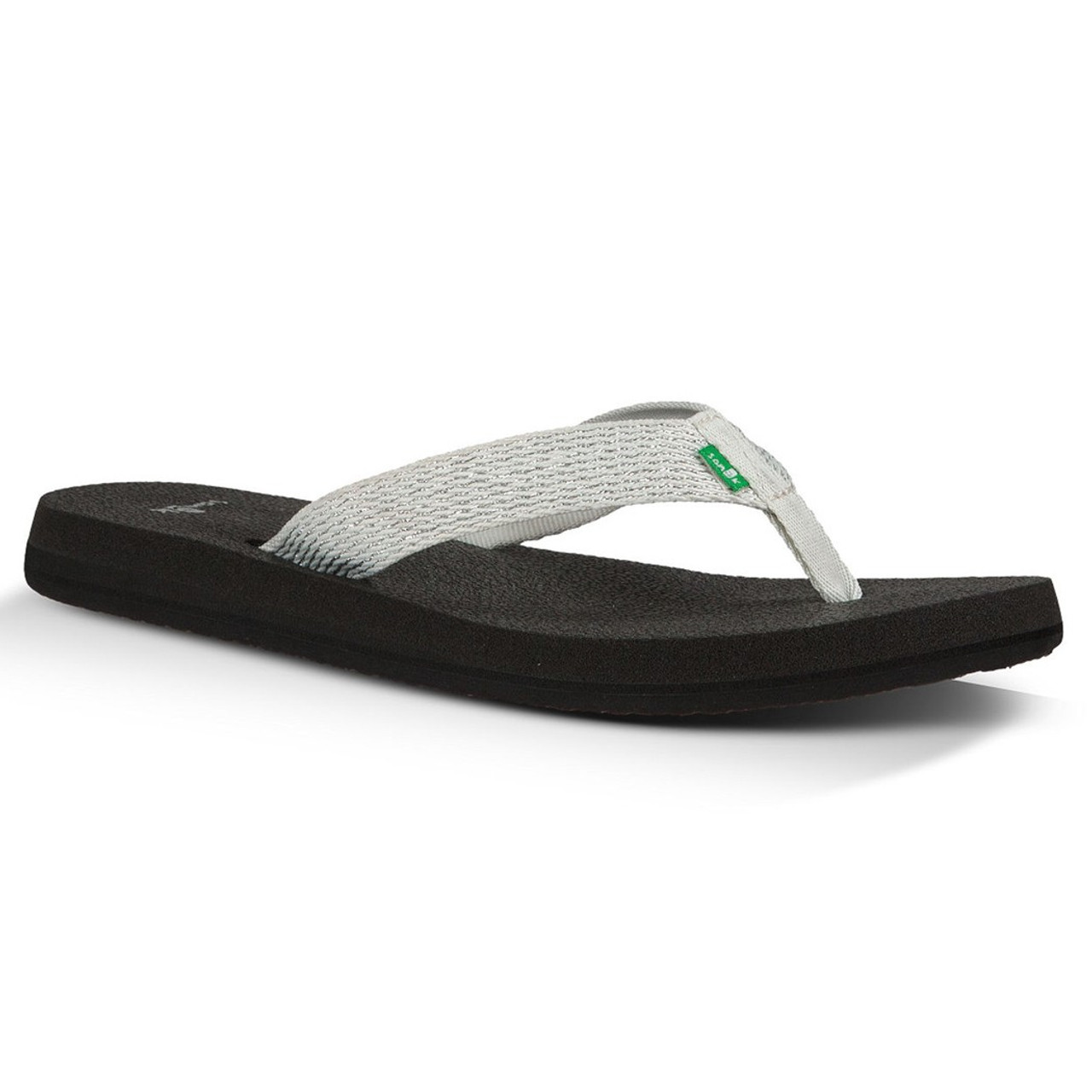 3cda26228 Sanuk Women s Flip Flop - Yoga Mat Web-Bling - Glacier Silver - Surf and  Dirt