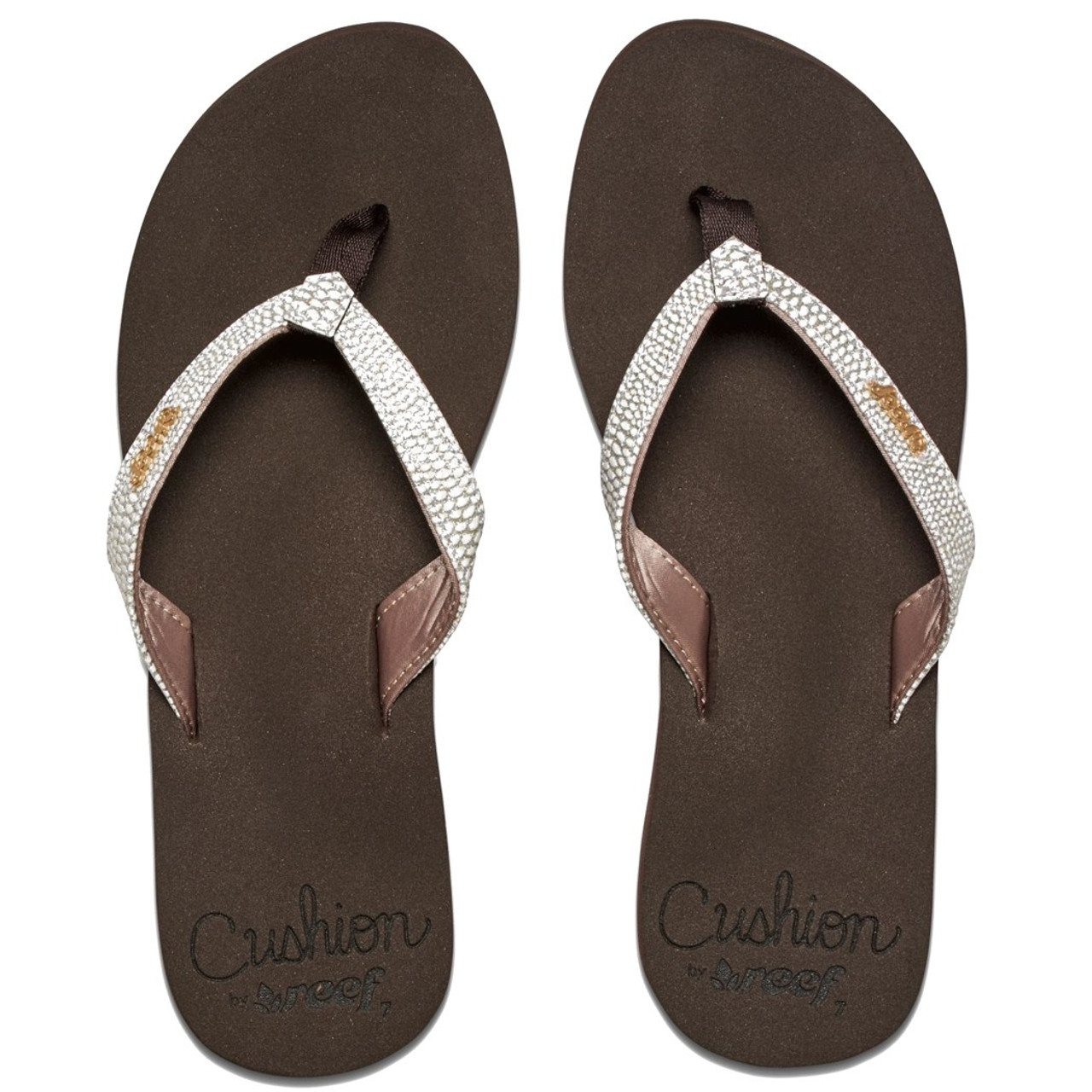 610b0a138 Reef Women s Flip Flop - Star Cushion Sassy - Brown White - Surf and ...