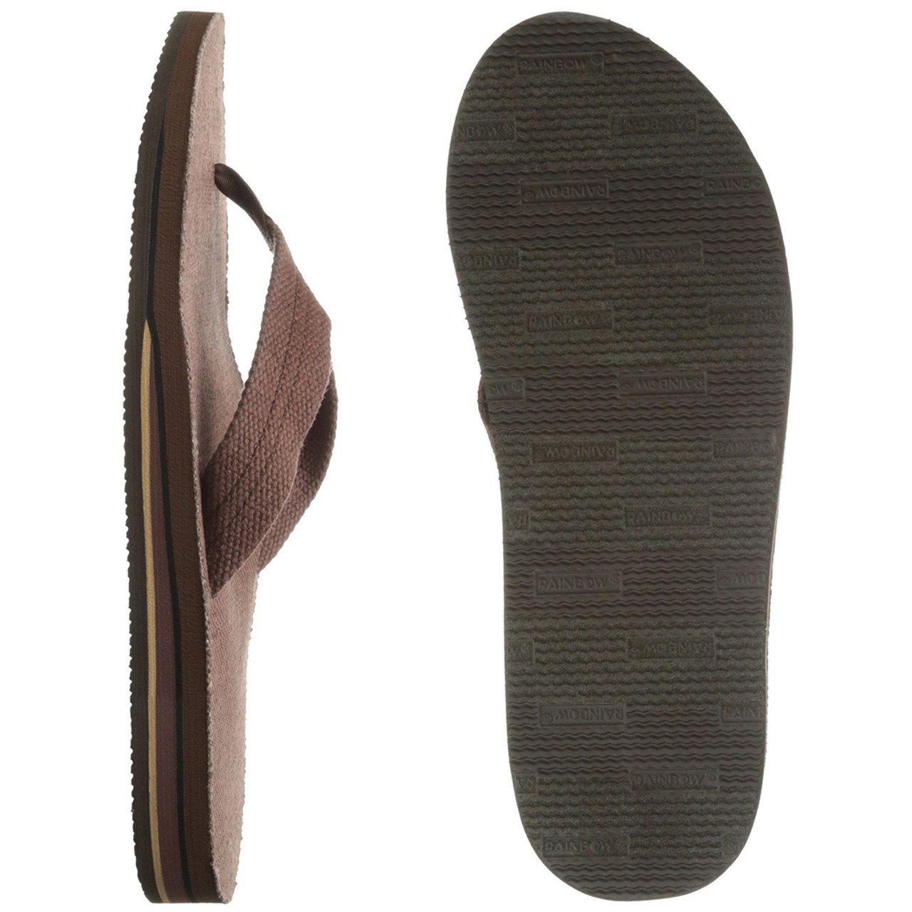 7e6a802857b1 Rainbow Flip Flops - Hemp Double Layer - Brown - Surf and Dirt