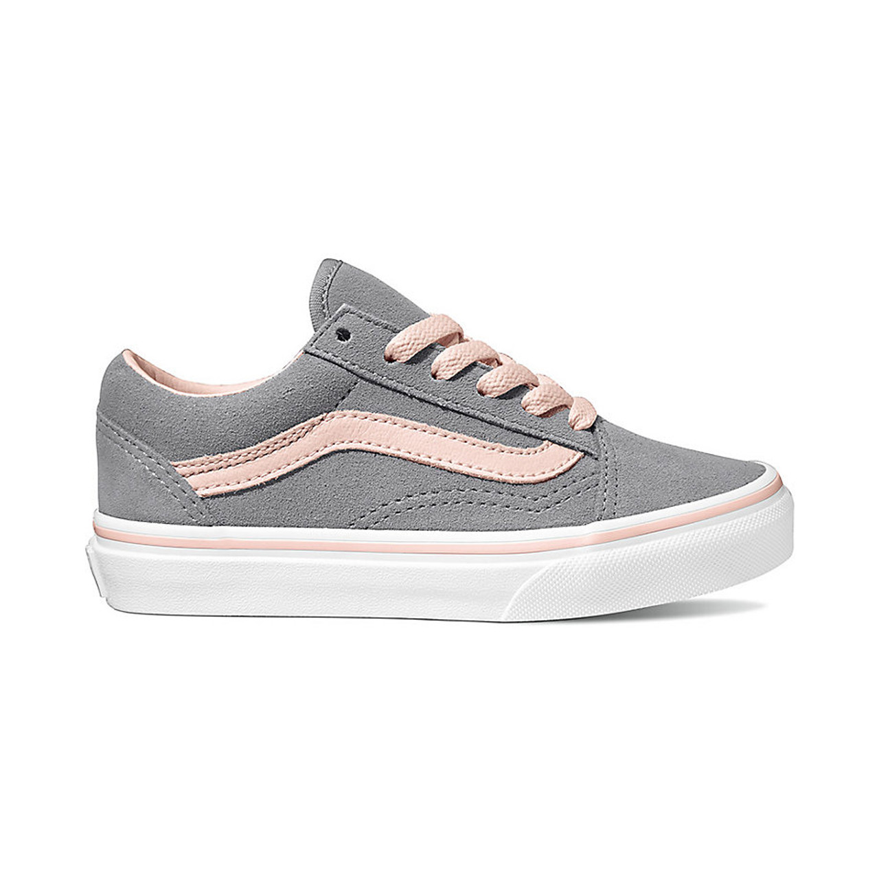 Vans Youth Shoes , Old Skool , Suede/Alloy/Heavenly Pink/White
